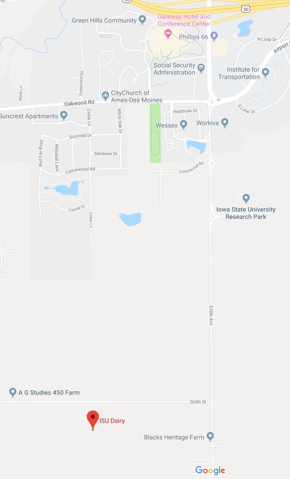 Map of ISU Dairy Farm via Google Maps