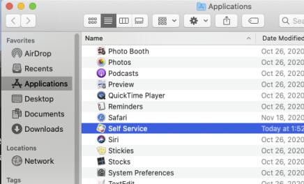 Self-Service in Applications folder