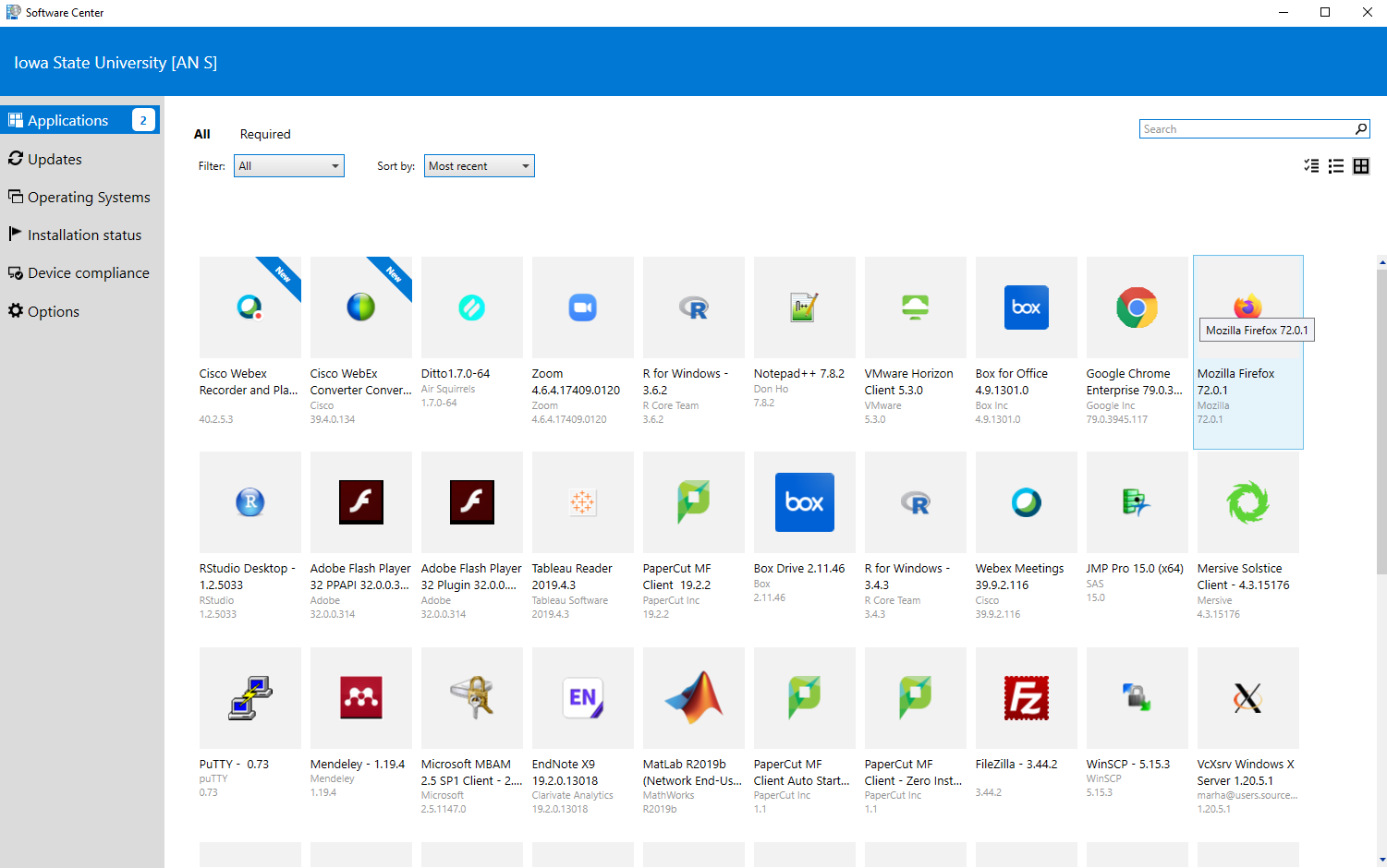 Software Center main page
