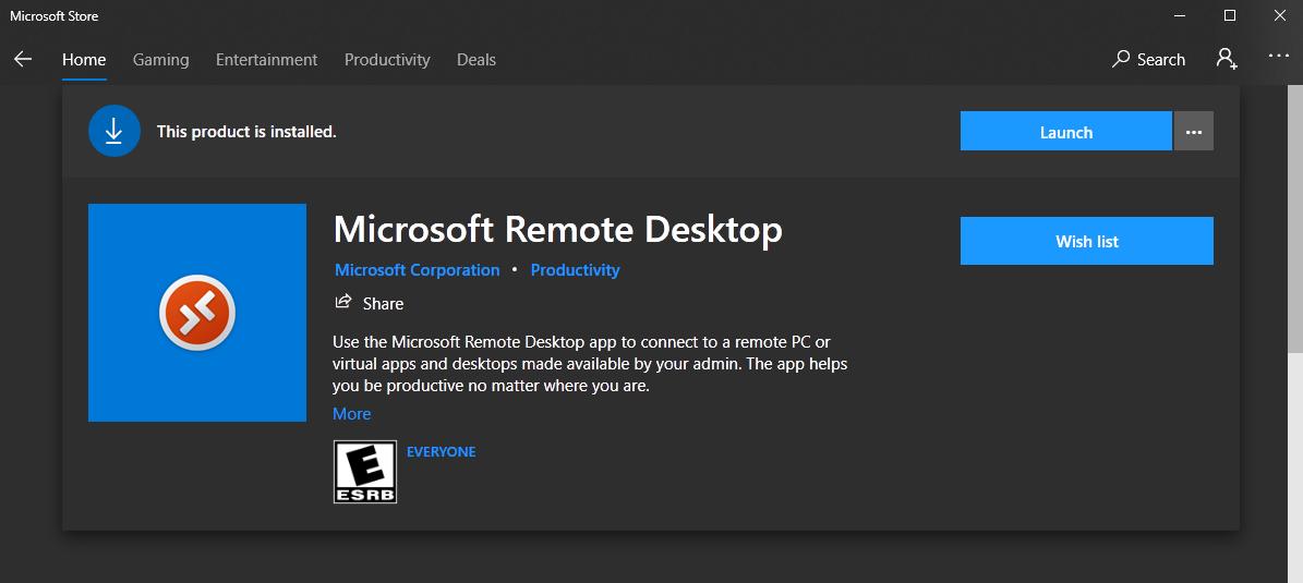 Windows app store depicting Windows Remote Desktop
