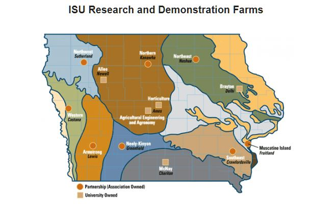 Map of Animal Science-involved Research Farms