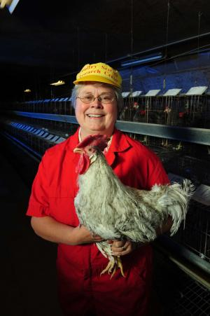Susan Lamont with chicken